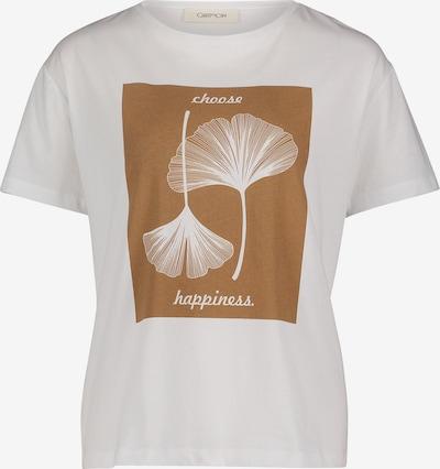 Cartoon Rundhals-Shirt mit Print in braun / weiß, Produktansicht