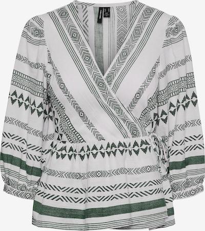 Bluză 'Dichte' VERO MODA pe verde închis / alb, Vizualizare produs