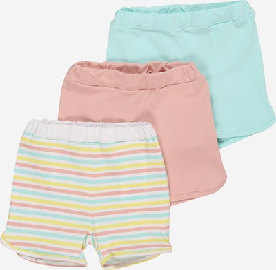 NAME IT Shorts 'BODIL' in aqua / pastellgelb / rosa / weiß, Produktansicht