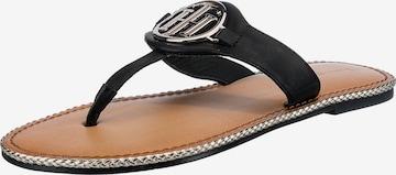 TOMMY HILFIGER T-Bar Sandals in Black