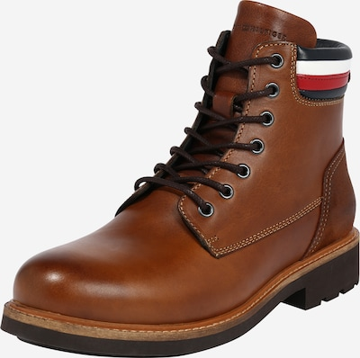 TOMMY HILFIGER Veterboots 'CORPORATE' in de kleur Navy / Cognac / Rood / Wit, Productweergave