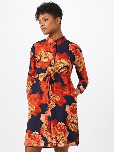 OBJECT Robe-chemise en beige / bleu foncé / marron / orange, Vue avec modèle