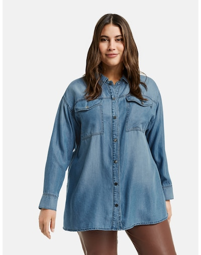 SAMOON Bluse in blue denim, Modelansicht