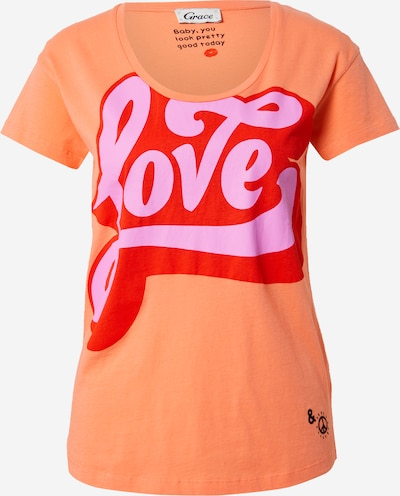 Grace T-Shirt 'LOVE' in pastelllila / lachs / rot, Produktansicht