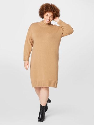 Selected Femme Curve Gebreide jurk 'BELLA' in Beige