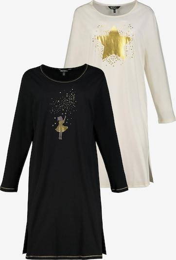 Ulla Popken Chemise de nuit en or / noir / blanc, Vue avec produit