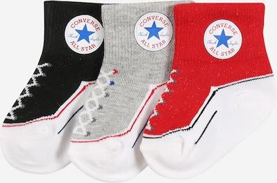 CONVERSE Socken 'INFANT' in graumeliert / rot / schwarz / weiß, Produktansicht