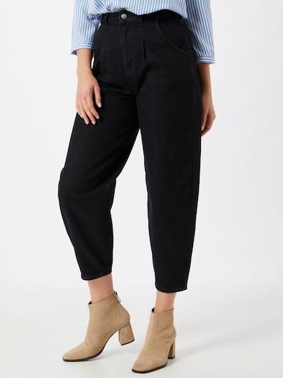 NU-IN Bandplooi jeans in de kleur Zwart, Modelweergave