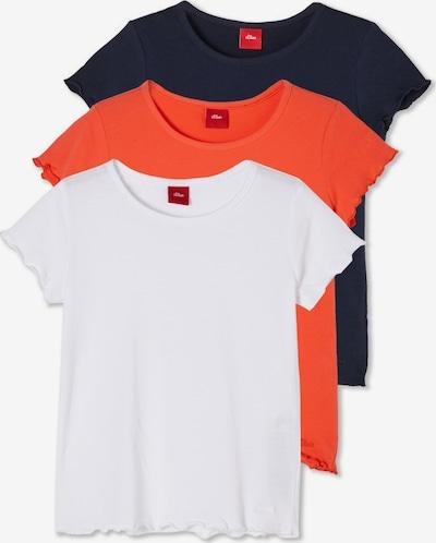 s.Oliver Shirt in dunkelblau / orangerot / weiß, Produktansicht