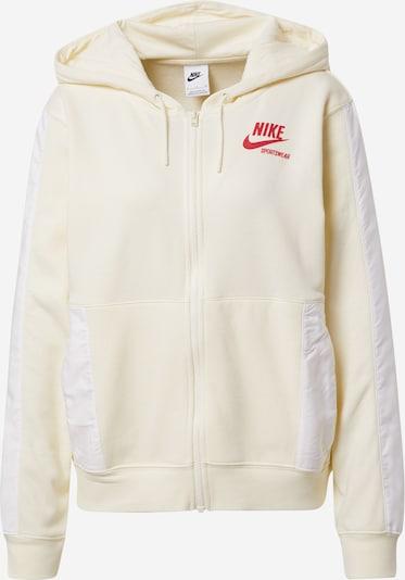 Nike Sportswear Sweatjacke in creme / rot / offwhite, Produktansicht