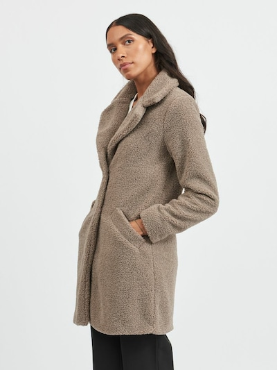 VILA Between-Seasons Coat in Greige, View model