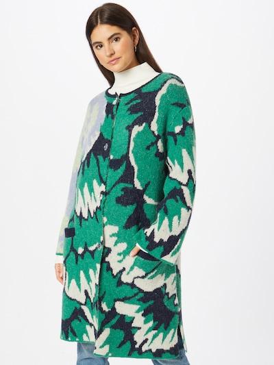 DELICATELOVE Strickmantel 'TINA' in nachtblau / grün / lavendel / weiß, Modelansicht