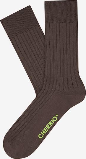 CHEERIO* Socken 'TOUGH GUY' in braun / neongrün, Produktansicht