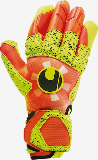 UHLSPORT Handschuh in neongelb / neonorange: Frontalansicht