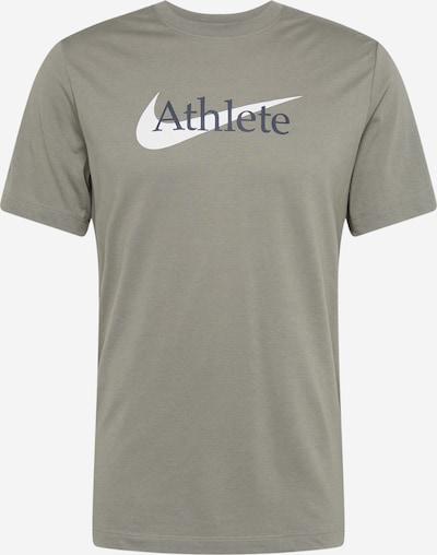 NIKE Sporta krekls tumši zils / olīvzaļš / balts, Preces skats