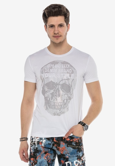 CIPO & BAXX T-Shirt 'BLING SKULL' mit Pailletten Totenkopf Print in weiß: Frontalansicht