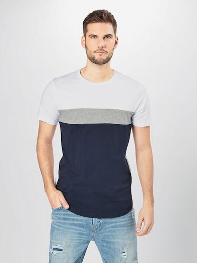 Marškinėliai iš JACK & JONES , spalva - tamsiai mėlyna / pilka / balta, Modelio vaizdas