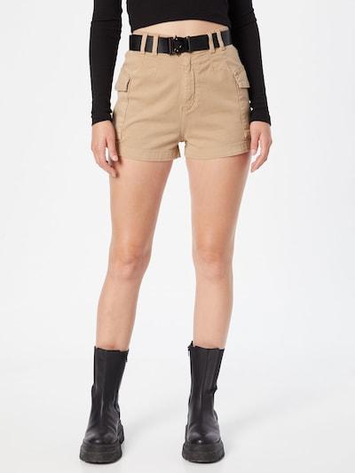 Tally Weijl Shorts 'UTILITY' in hellbeige / schwarz, Modelansicht