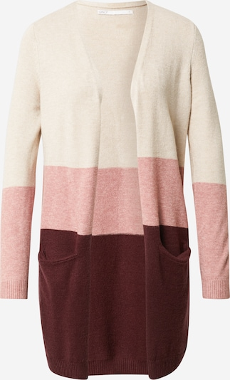 ONLY Cardigan 'Queen' in beige / pink / weinrot, Produktansicht