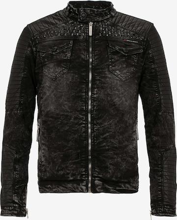 CIPO & BAXX Denim Biker Jacke mit Edelsteinelementen in Schwarz