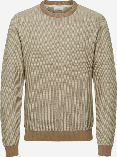 SELECTED HOMME Pullover in beige / weiß, Produktansicht