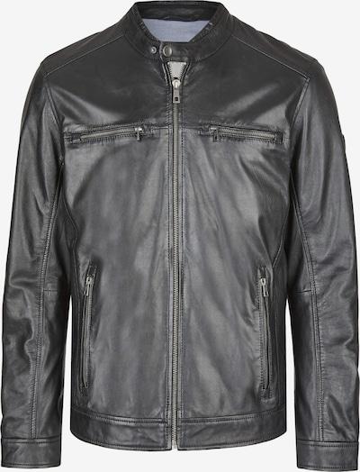 bugatti Lederjacke mit Reißverschlüssen und Druckknopfriegeln in schwarz, Produktansicht