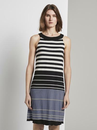 TOM TAILOR Kleid in rauchblau / schwarz / weiß, Modelansicht
