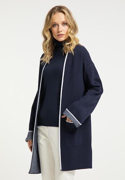 DreiMaster Klassik Manteau en tricot en marine / blanc, Vue avec modèle
