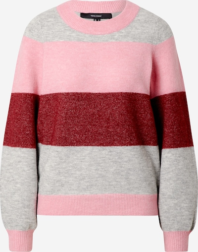 VERO MODA Pullover 'Abbia' in grau / himbeer / hellpink, Produktansicht