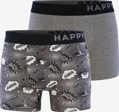 Happy Shorts Boxershorts ' Trunks #2 ' in de kleur Grijs gemêleerd, Productweergave