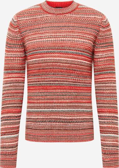 BOSS Casual Sweater 'Alefto' in mottled brown / Grey / Neon orange / mottled black / White, Item view