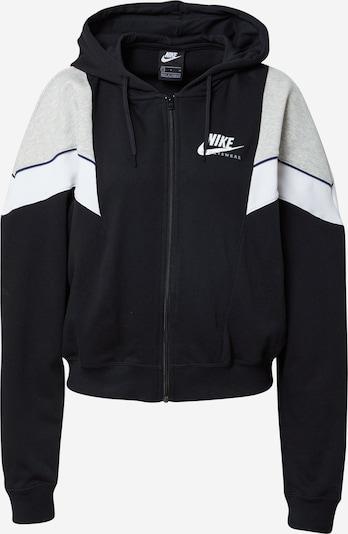 Nike Sportswear Sudadera con cremallera en gris claro / negro / blanco, Vista del producto
