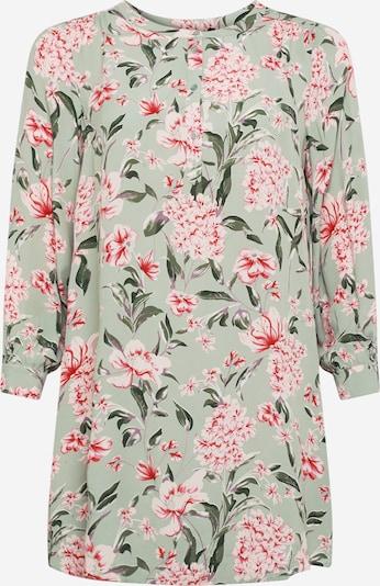 Zizzi Bluse 'JAYCE' in grün / pastellgrün / rot / weiß, Produktansicht