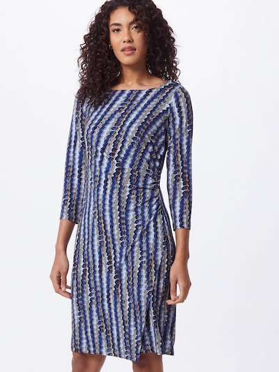 Cartoon Kleid in blau / hellblau / braun / kastanienbraun / grau, Modelansicht