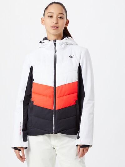 4F Jacke in dunkelblau / orangerot / weiß: Frontalansicht