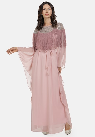 faina Abendkleid in grau / pink / rosa / burgunder, Modelansicht