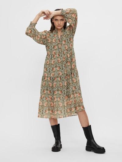 OBJECT Kleid 'Steph Gia' in oliv / pastellgrün / pastellorange / dunkelorange, Modelansicht