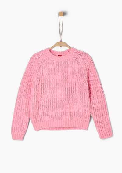 s.Oliver Lockerer Pullover im Cropped Style in hellpink: Frontalansicht