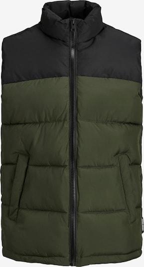 Jack & Jones Junior Bodywarmer 'PAUL' in de kleur Olijfgroen / Zwart, Productweergave