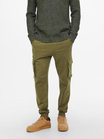 Only & Sons Klapptaskutega püksid 'Kian', värv roheline