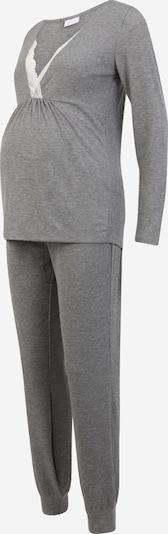 MAMALICIOUS Pyjama 'Kehla' in graumeliert / weiß, Produktansicht