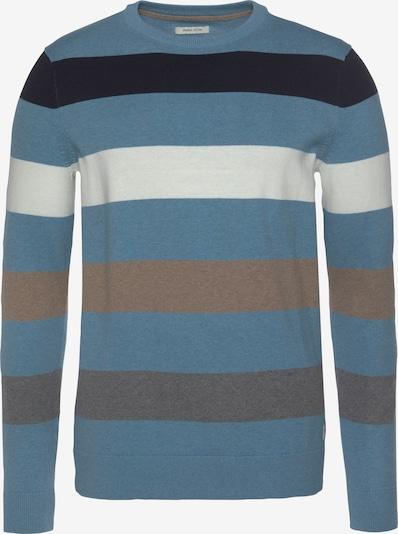 TOM TAILOR Pullover in rauchblau / nachtblau / taupe / weiß, Produktansicht