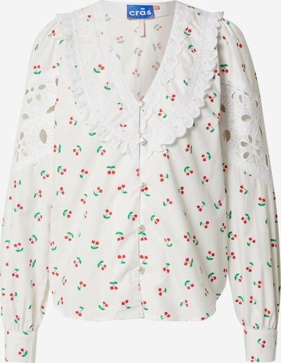 Crās Bluse 'Eviecras' in grün / rot / weiß, Produktansicht