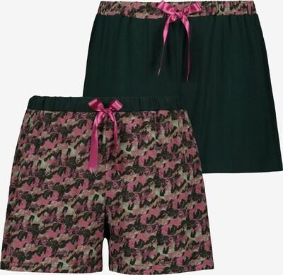Ulla Popken Schlafshorts in pastellgrün / pink / schwarz, Produktansicht