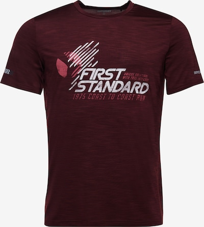 Superdry Functioneel shirt in de kleur Bordeaux / Wit, Productweergave