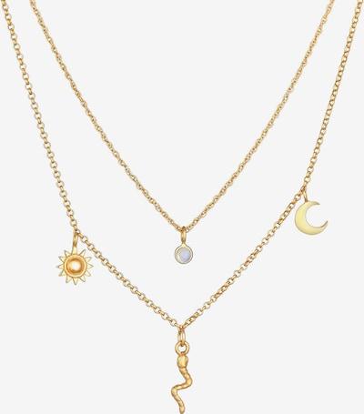 ELLI PREMIUM Halskette Halbmond, Layer, Schlange, Sonne in gold, Produktansicht