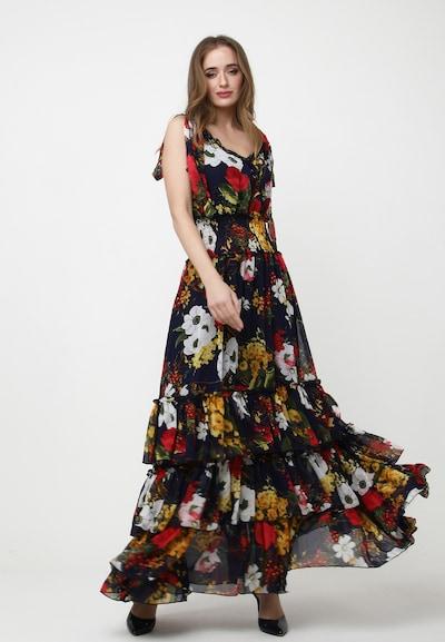 Madam-T Kleid 'Nikoletta' in nachtblau / goldgelb / oliv / rot / weiß, Modelansicht