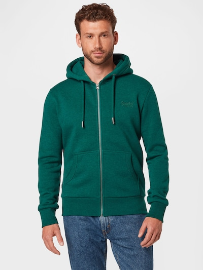 Superdry Суичъри с качулка в смарагдово зелено: Изглед отпред