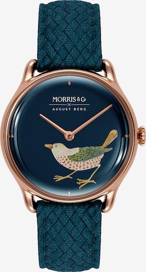 August Berg Analoog horloge 'MORRIS & CO Rose Gold Bird Indigo Perlon 30mm' in de kleur Blauw / Indigo / Rose-goud, Productweergave