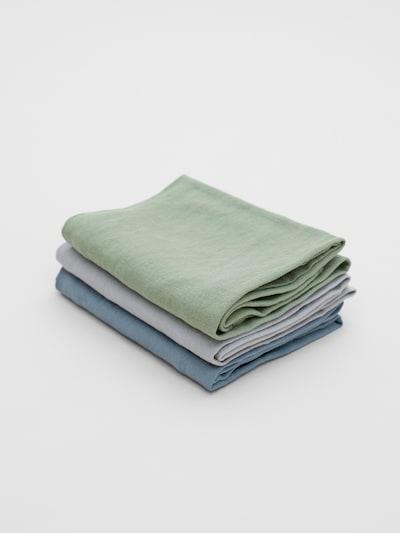 Erlich Textil Handdoek ' 3er-Pack Bente ' in de kleur Duifblauw / Lichtgrijs / Groen, Productweergave
